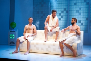 Phillip, Lockheart and Sandy get down to business in the sauna. Image: Gary Marsh Photography