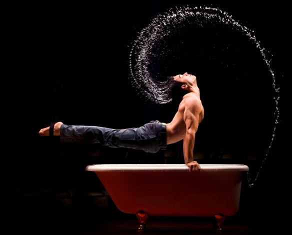 Aerial gymnast David O'mer as Bath Boy. Photo: Simon-Pierre Gingras