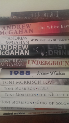 Pile of books by Gabriel Garcia Marquez, Andrew McGahan, Toni Morrison and Andrei Makine.