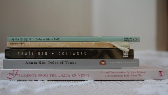 Stack of Anais Nin titles.