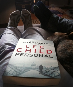 Party of five: Me, Lee Child, the Ministry, the dog and the pizza (not pictured. Got et.)