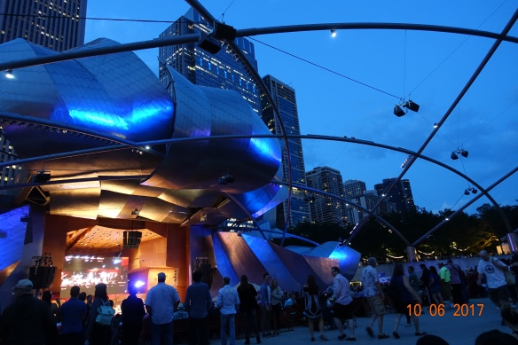 Nightfall at Millennium Park's main stage.