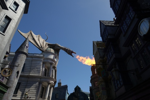The dragon atop Gringott's. Go to the end to see the video of it breathing fire!