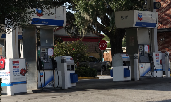 "You can see here the signs taped on to the bowsers that just say ""out of gas""."