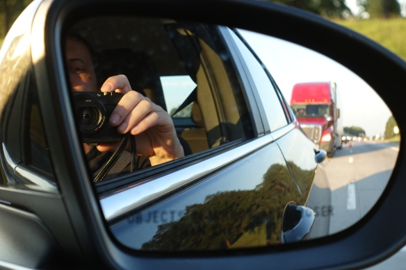 You can just see the line of cars stretching out behind us in the mirror.