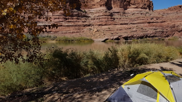 Our little tent pitched on the banks of the Colorado just outside Arches national park