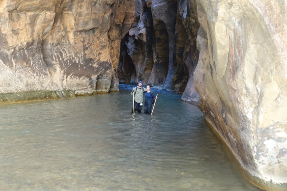 The Narrows, a challenging hike upstream through the Virgin River at the bottom of Zion Canyon.